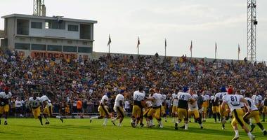 The Steelers practice at Latrobe Memorial Stadium during 2018 training camp