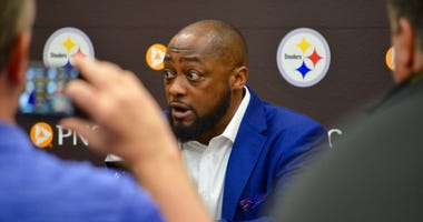 Steelers coach Mike Tomlin at NFL Draft press conference in 2019
