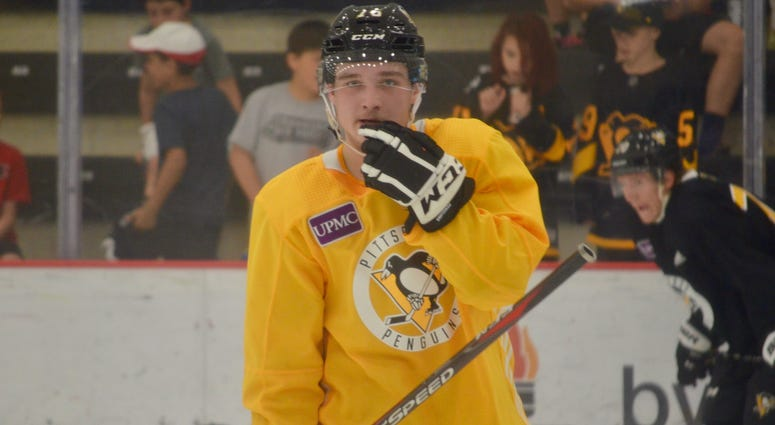 Penguins defenseman Calen Addison at development camp in June 2019