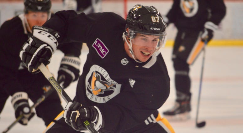 Penguins captain Sidney Crosby at a practice in September 2018