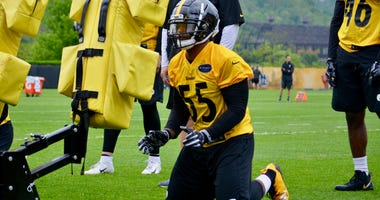 Steelers LB Devin Bush at rookie minicamp in May, 2019
