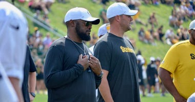 Steelers coach Mike Tomlin and quarterback Ben Roethlisberger in training camp 2019