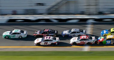 Brad Keselowski, driver of the #2 MoneyLion Ford, leads the field during the NASCAR Cup Series Busch Clash at Daytona International Speedway on February 09, 2020 in Daytona Beach, Florida.