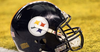 Pittsburgh Steelers helmet on the field