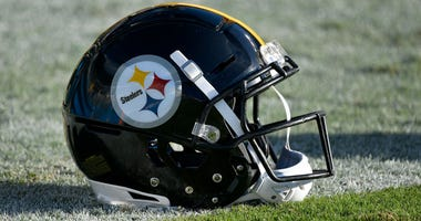 Pittsburgh Steelers helmet on field