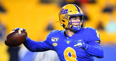 Kenny Pickett of the Pittsburgh Panthers throws a pass