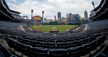 A wide view of the empty stadium during summer workouts at PNC Park in Pittsburgh