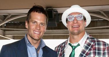 NFL players Tom Brady and Rob Gronkowski