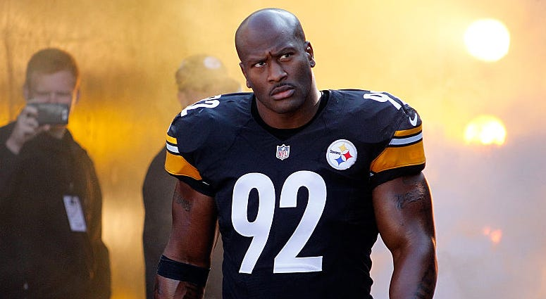 James Harrison #92 of the Pittsburgh Steelers walks onto the field before the start of a game