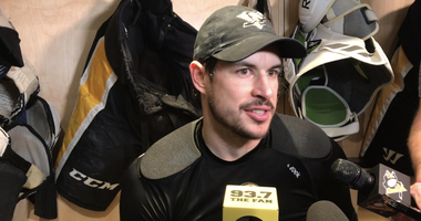 Penguins captain Sidney Crosby talks with the media after practicing on December 31, 2019
