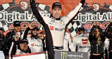 Team Penske's Brad Keselowski Celebrates After Winning NASCAR Cup Race At Kansas Speedway