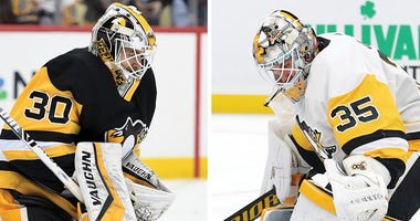 Matt Murray and Tristan Jarry of the Pittsburgh Penguins