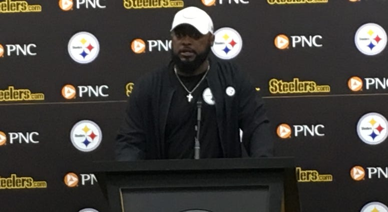 Mike Tomlin at the podium