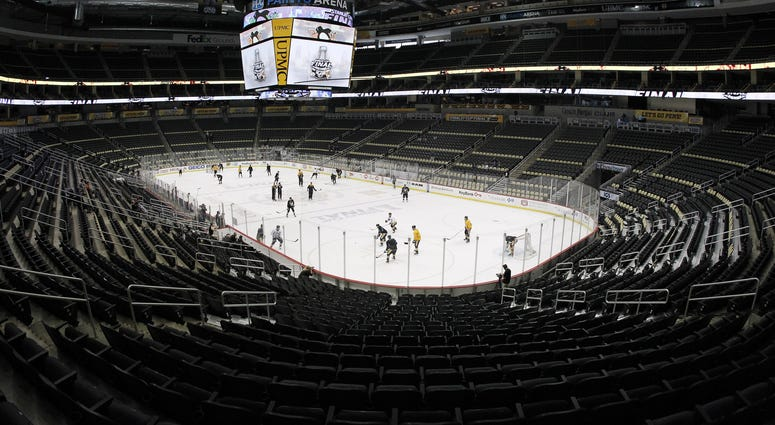General view of Pittsburgh Penguins practice