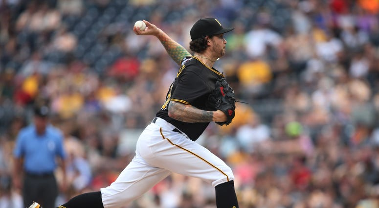 Pittsburgh Pirates relief pitcher Steven Brault (43) pitches against the Cincinnati Reds during the eighth inning at PNC Park. The Pirates won 6-2.