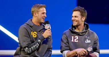 Los Angeles Rams quarterback Jared Goff (16) and New England Patriots quarterback Tom Bradu