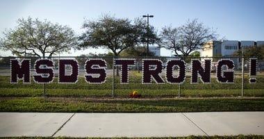 February 14, 2019; Parkland, FL, USA; The fence around Marjory Stoneman Douglas High School