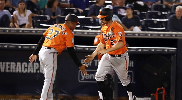 Tampa, FL, USA; Baltimore Orioles major catcher Andrew Susac (27) is congratulated by major league coach Jose Hernandez (27) as he hits a home run during the third inning against the New York Yankees at George M. Steinbrenner Field