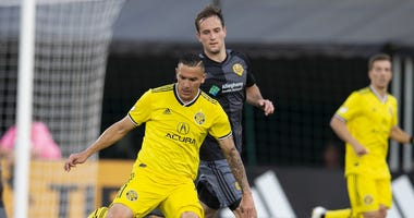 Riverhounds' Christian Volesky getting ready to take a shot