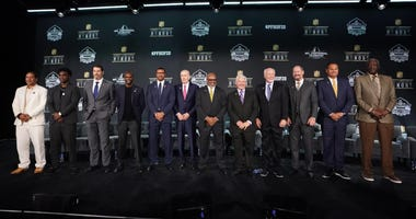 Feb 1, 2020; Miami, Florida, USA; Members of the 2020 Pro Football Hall of Fame Class pose during the NFL Honors awards presentation