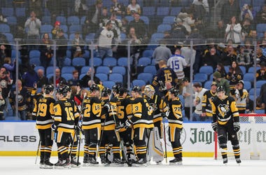 The Pittsburgh Penguins celebrate a win over the Buffalo Sabres