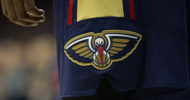 The New Orleans Pelicans logo on a players shorts