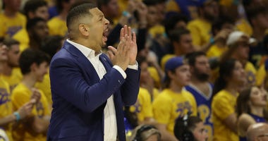 Pittsburgh Panthers head coach Jeff Capel reacts on the sidelines against the Florida State Seminoles during the first half at the Petersen Events Center.