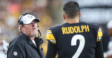Pittsburgh Steelers offensive coordinator Randy Fichtner (left) talks with quarterback Mason Rudolph (2) on the sidelines against the Kansas City Chiefs during the second quarter at Heinz Field.