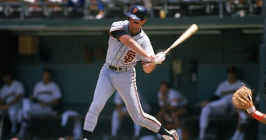 Jack Clark swings with the San Francisco Giants.