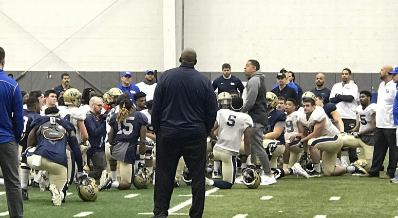 Basketball Coach Jeff Capel at Pitt Football Spring Practice