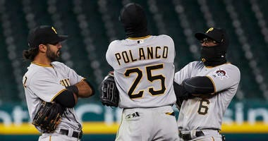 Pirates outfield celebration