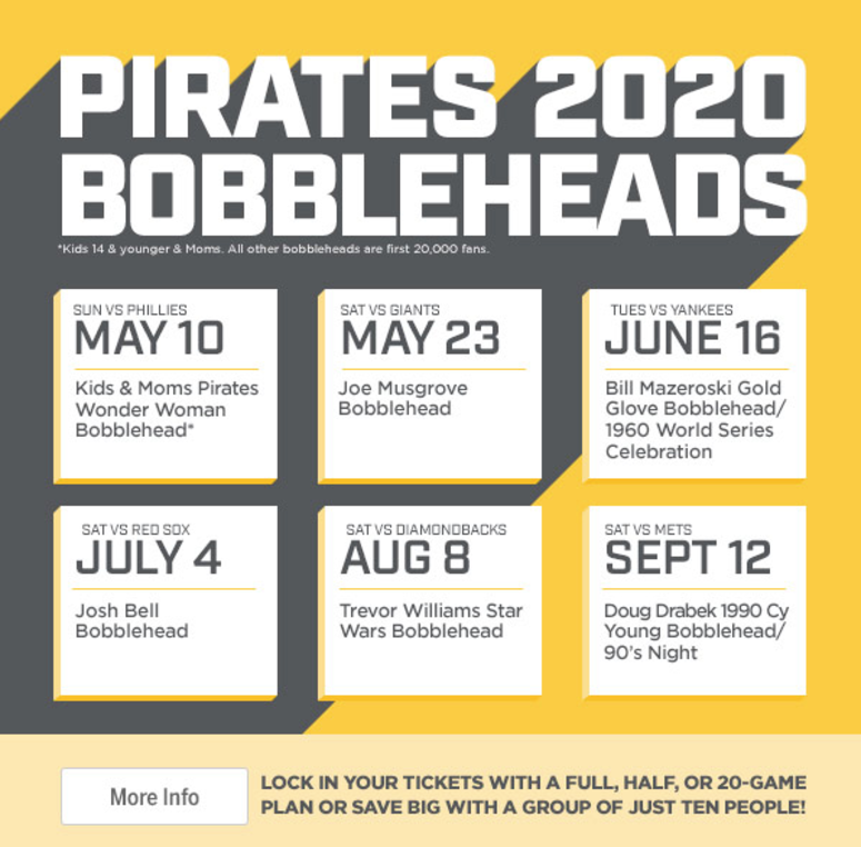 Pirates Home Opener 2020.Pirates Announce 2020 Bobblehead Schedule 93 7 The Fan