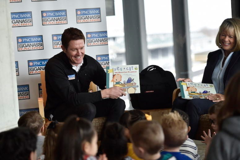 PNC Bank Chip Ganassi Racing's Scott Dixon Reads To Children At Indianapolis Motor Speedway As Part Of PNC's Grow Up Great Program