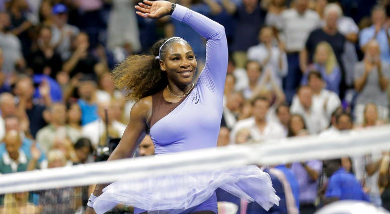 Serena Williams celebrates after defeating Anastasija Sevastova, of Latvia, during the semifinals of the U.S. Open tennis tournament