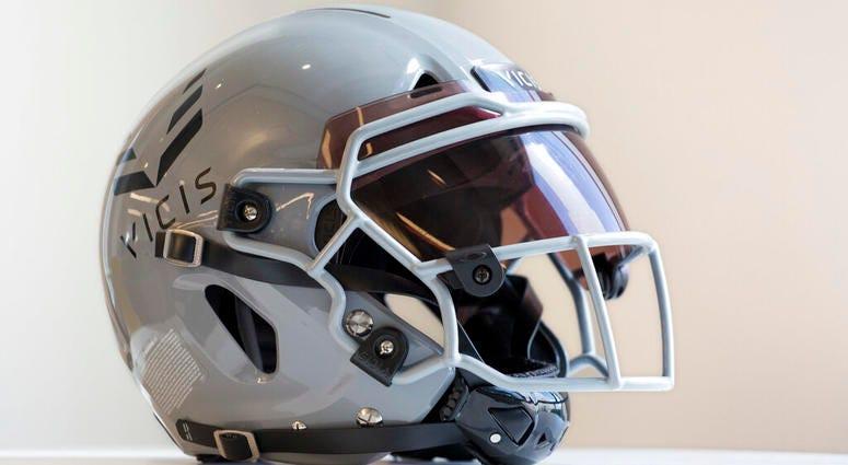 a VICIS Zero1 helmet is displayed in New York.