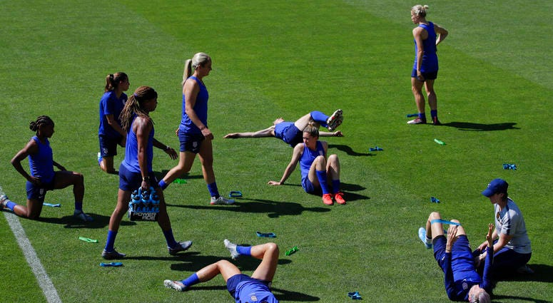 United States' players warm up during a training session at the Gymnase Parc des Sports in Limonest, outside Lyon, France, a day before their Women's World Cup final match against the Netherlands, Saturday, July 6, 2019.
