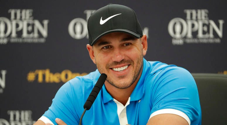 Brooks Koepka of the United States speaks at a press conference ahead of the start of the British Open golf championships Royal Port Rush in Northern Ireland, Tuesday, July 16, 2019. The British Open starts Thursday