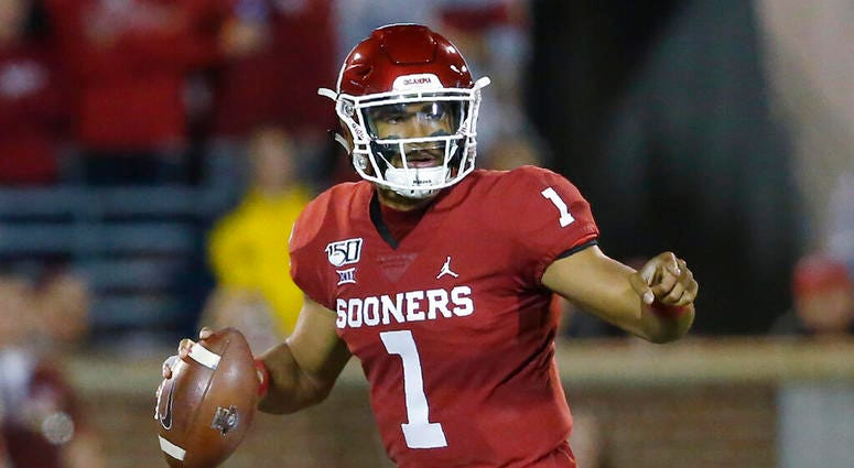 Oklahoma quarterback Jalen Hurts (1) during an NCAA college football game between Iowa State and Oklahoma in Norman, Okla., Saturday, Nov. 9, 2019.