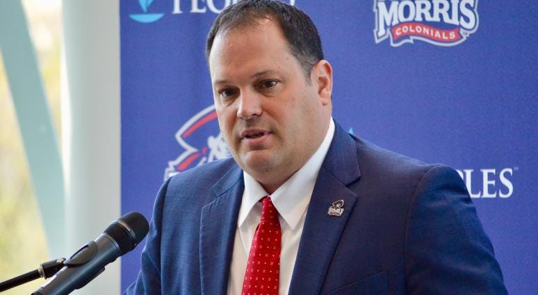 Robert Morris athletic director at his introductory press conference in May, 2019