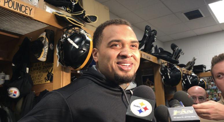 Steelers C Maurkice Pouncey talks with media on December 4, 2019