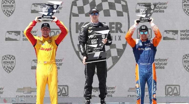 Josef Newgarden, Ryan Hunter-Reay And Scott Dixon