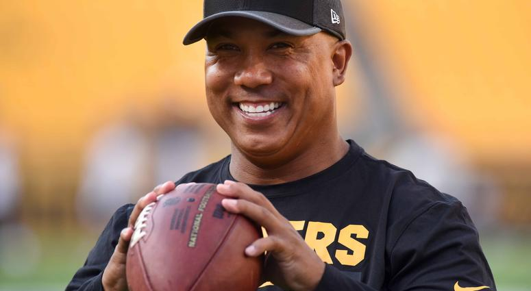 Former Pittsburgh Steelers wide receiver Hines Ward throws the ball with fans before the Pittsburgh Steelers play the Indianapolis Colts at Heinz Field.