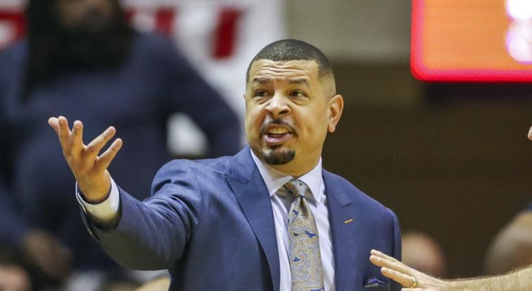 Pittsburgh Panthers head coach Jeff Capel argues a call during the first half against the West Virginia Mountaineers at WVU Coliseum.