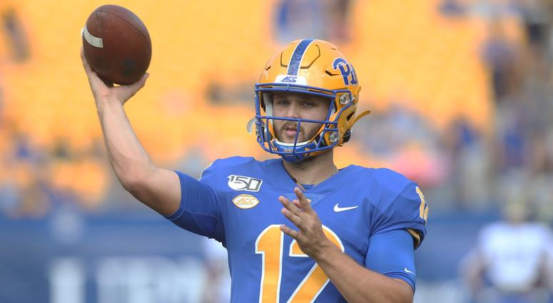 Pittsburgh Panthers quarterback Nick Patti (12) warms up before playing the Delaware Fighting Blue Hens at Heinz Field.