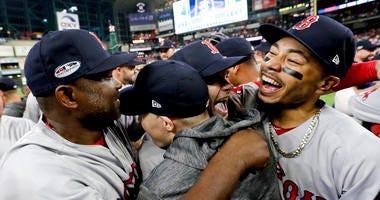 Boston Red Sox celebrate World Series-bound