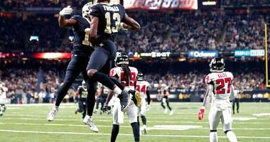 New Orleans Saints wide receiver Tommylee Lewis celebrates his touchdown reception