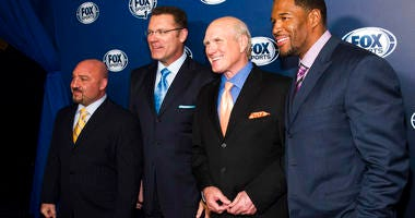 Jay Glazer, from left, Howie Long, Terry Bradshaw and Michael Strahan attending the Fox Sports Media Upfront party celebrating the new Fox Sports 1 network in New York