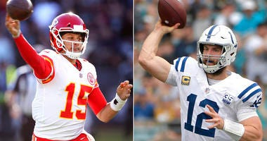 Kansas City Chiefs quarterback Patrick Mahomes, Indianapolis Colts quarterback Andrew Luck