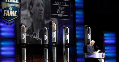 Glen Wood speaks during NASCAR Hall of Fame induction ceremonies in Charlotte, N.C.
