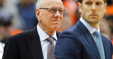 Syracuse coach Jim Boeheim waits for the team's NCAA college basketball game against Duke in Syracuse, N.Y., Saturday, Feb. 23, 2019